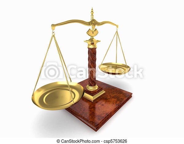 Symbol Of Justice Scale On White Isolated Background 3d