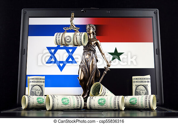 Symbol Of Law And Justice Banknotes Of One Dollar And Israel And
