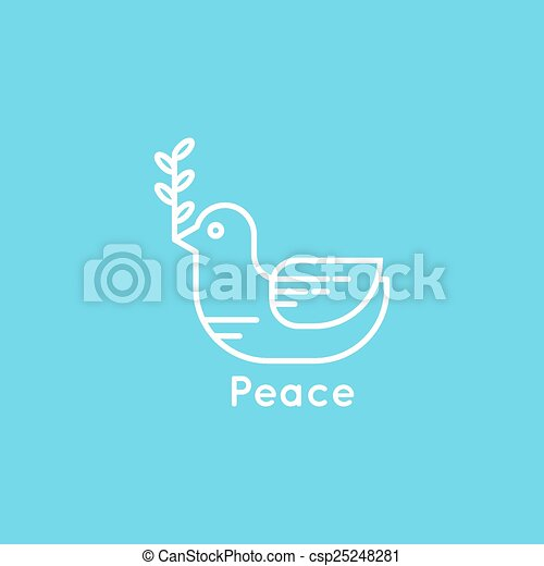 Symbol Of Peace Dove With Olive Branch Minimal Outline Vector