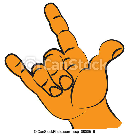 Symbol Of Rock Music Victory Fist Hand Held High Two Finger For
