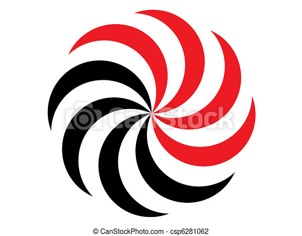 Black And Red Symbol Of The Sun On A White Background Clip Art