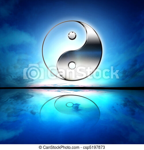 Symbol of yin and yang of the background. - csp5197873