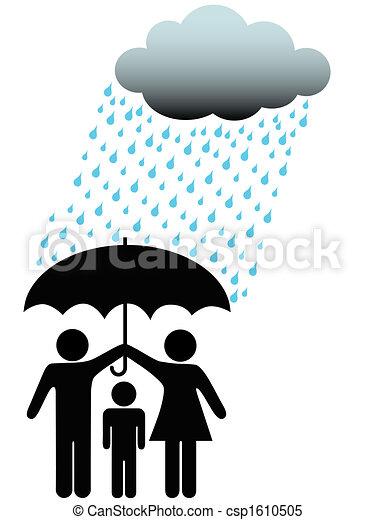 Symbol people family safe under umbrella cloud & rain - csp1610505