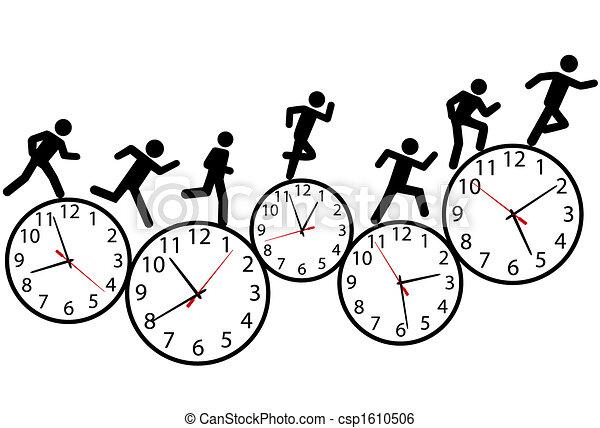 Symbol people run a race in time on clocks - csp1610506