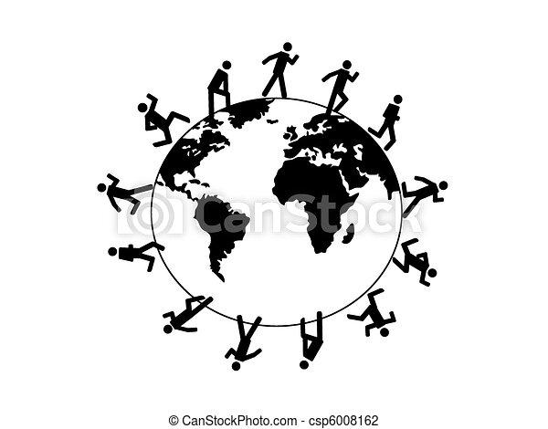 Symbol People Running Around The Wo