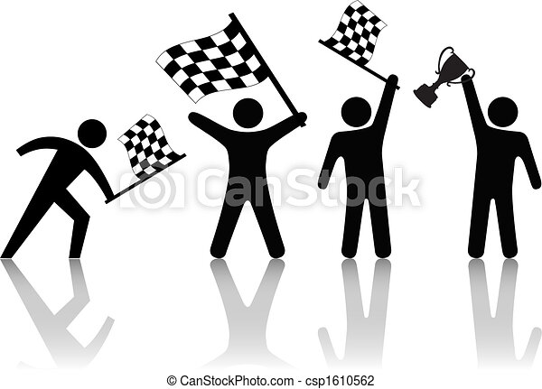 Symbol People Wave Checkered Flag Hold Victory Trophy - csp1610562