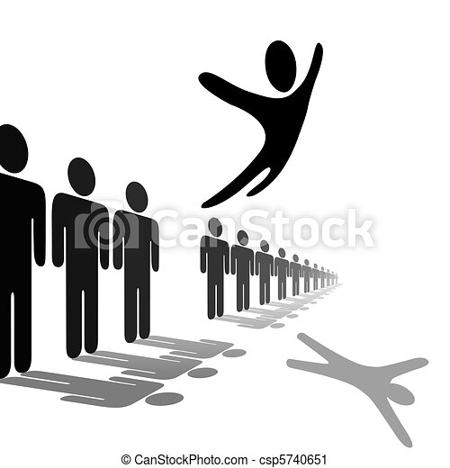 Symbol Person Leaps Out of Line Soars Above People - csp5740651