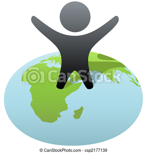 Symbol person stands on globe to celebrate success - csp2177139