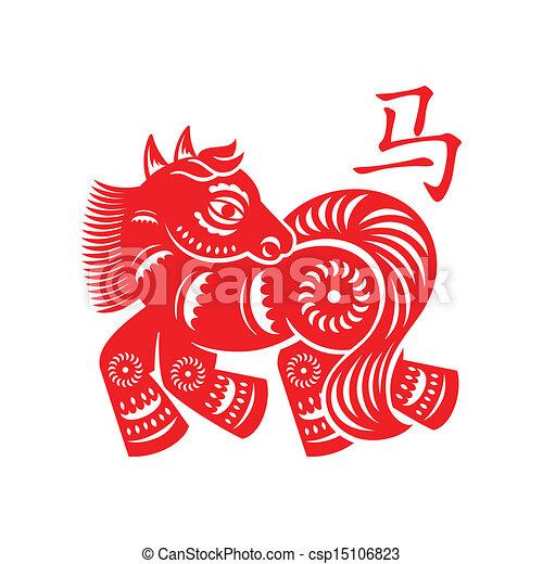symbol, pferd, lunar - csp15106823