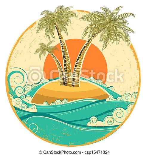 symbol, struktura, tropikalny, papier, stary, słońce, island., wektor, motyw morski, rocznik wina - csp15471324