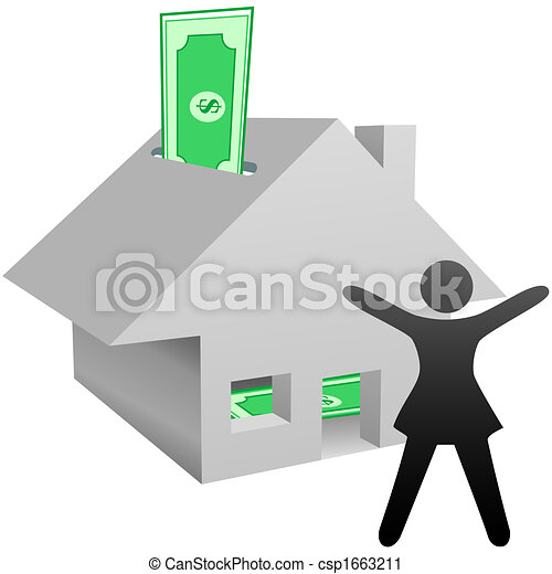 Symbol woman celebrates house savings or work at home income - csp1663211