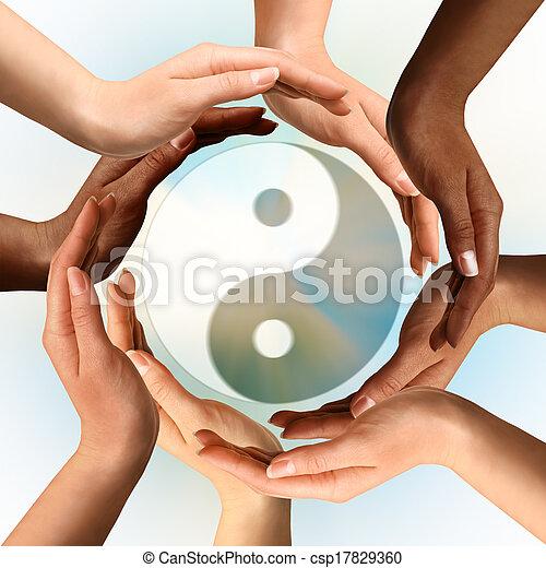 symbol, yin, blandras, omgivande, yang, räcker - csp17829360