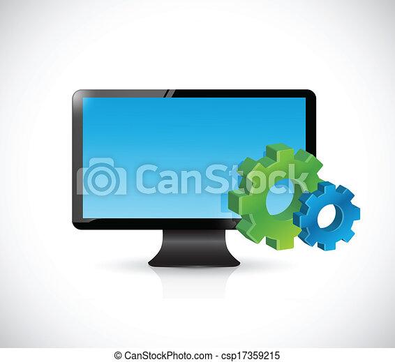 symbole, écran, industriel, informatique, engrenages - csp17359215