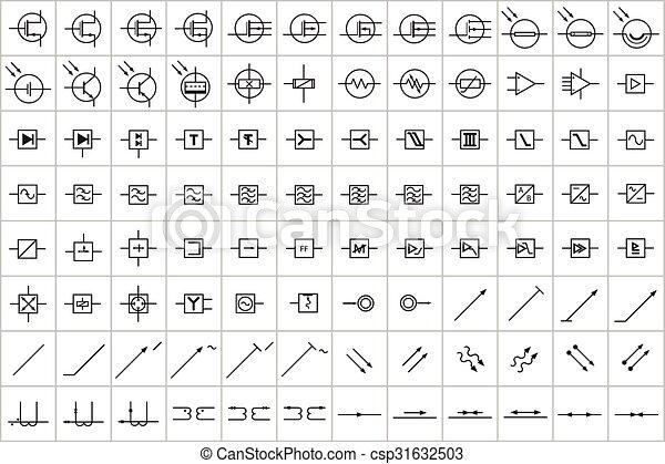 Symbole 96 lectronique lectrique 3 color symboles - Symbole radiateur electrique ...