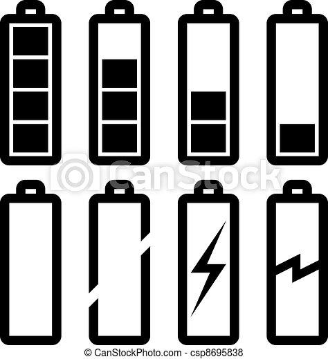 Symbole, batterie, vektor, wasserwaage Vektor - Suche Clipart ...