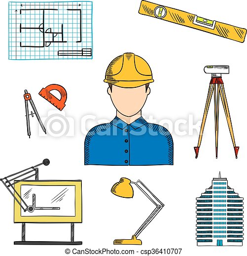 Suche Architekt symbole baugewerbe architekt oder ingenieur skizzen vektor