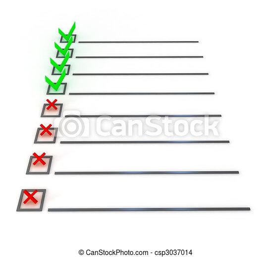 symbole, blanc, liste, sur, chèque - csp3037014