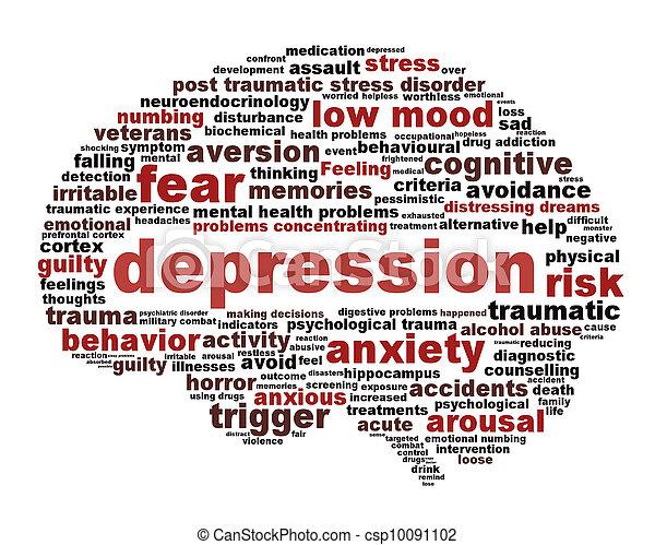 symbole, concept, isolé, dépression, blanc - csp10091102