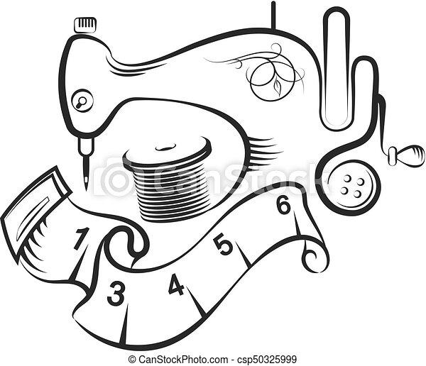 Machine symbole couture conception accessoires - Dessin de couture ...