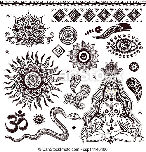 symbole, dekorativ, satz, indische , elemente - csp14146400