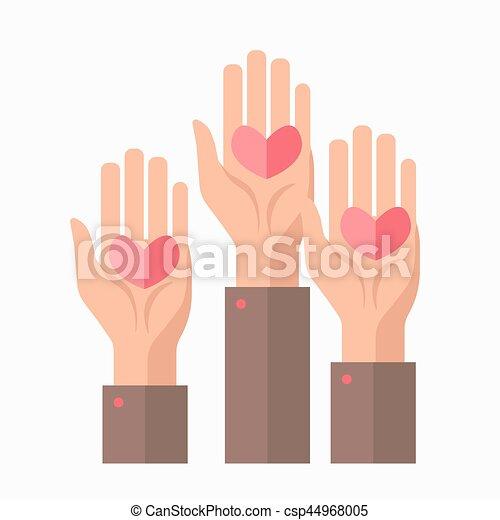 symbole, donation, vecteur, sanguine, gabarit, mains, cœurs, charité - csp44968005