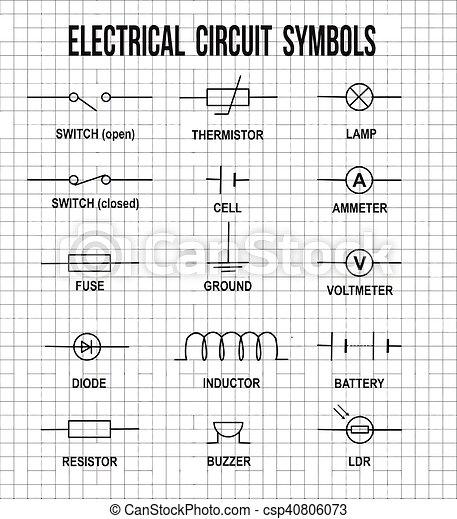 Symbole, elektrischer kreislauf. Abbildung, (helpful, stromkreis ...