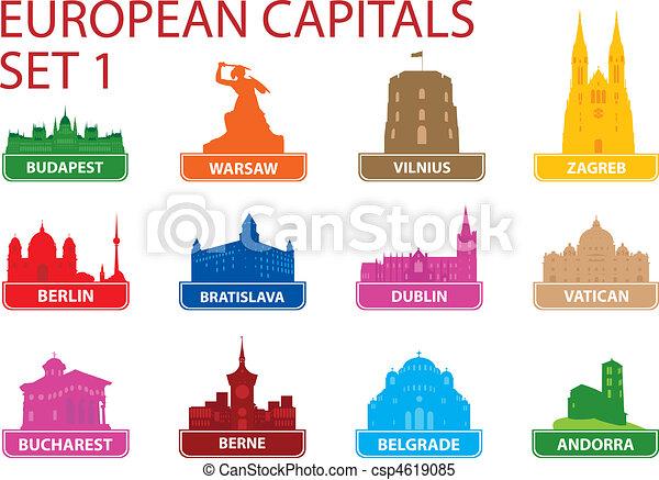 Symbole, europäische , hauptstadt. Vektor, symbols., illustration ...