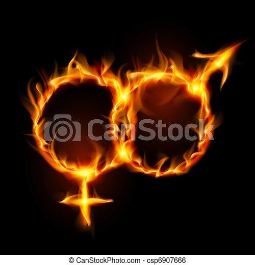 symbole, femme, brûlé, homme - csp6907666