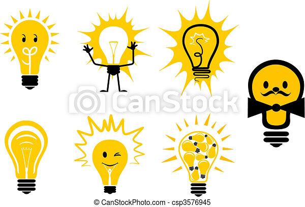 Symbole, glühbirnen. Symbole, licht, fester entwurf, zwiebel.