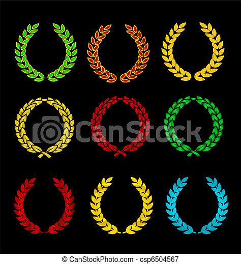 symbole, goldenes, satz, gefärbt, wappen - csp6504567