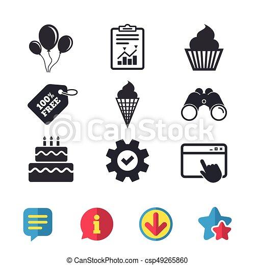 Symbole Icons Anniversaire Glace Gâteau Fête Crème