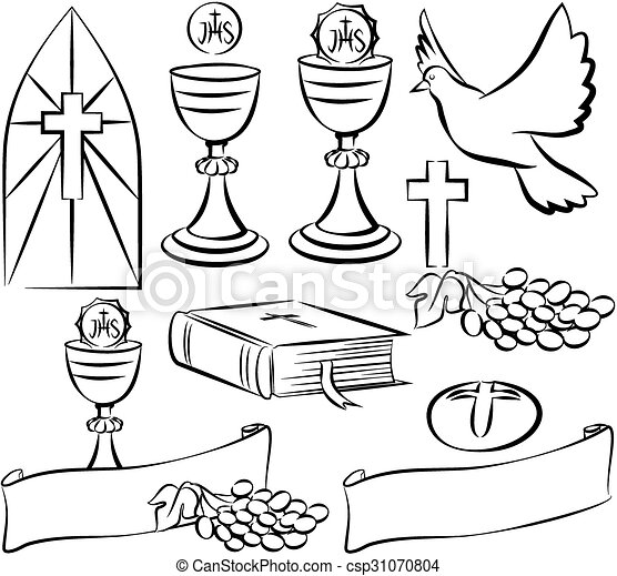 Vektor Clipart Von Symbole Kommunion Vektor Heilig Heilig