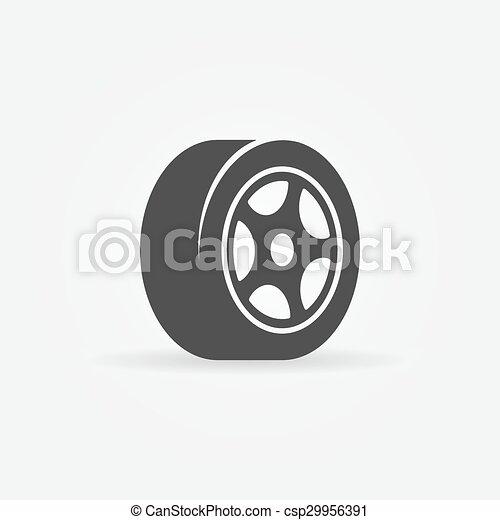 symbole, noir, ou, pneu, icône - csp29956391