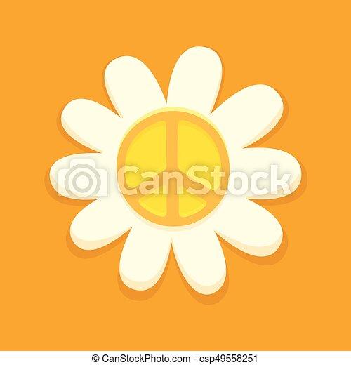 Symbole Paix Hippie Fleur Fleur Hippie Symbole Paix Clair