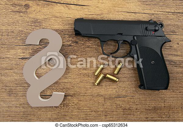 symbole, pistolet, noir, paragraphe - csp65312634