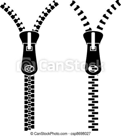 symbole, reißverschluss, vektor, schwarz - csp8698027