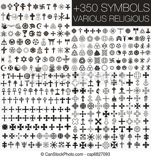 350 Symbole Vektor verschiedene religio - csp6827093