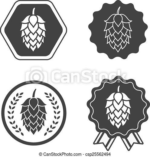 symbole, signe, bière, métier, houblon, étiquette - csp25562494