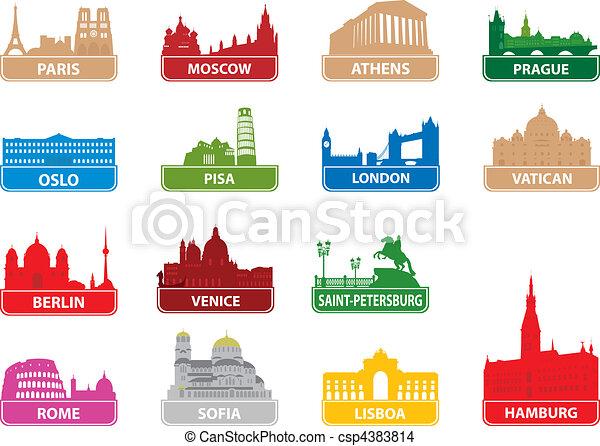Symbole, stadt, europäische . City., abbildung, symbole, vektor ...