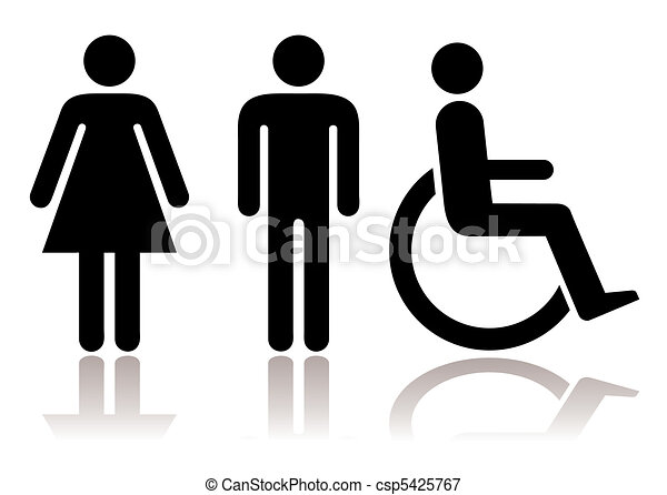 symbole, toilette, behinderten - csp5425767