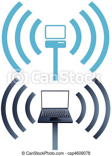 Symbole, vernetzung, laptop, wifi, drahtloser computer. Symbols ...
