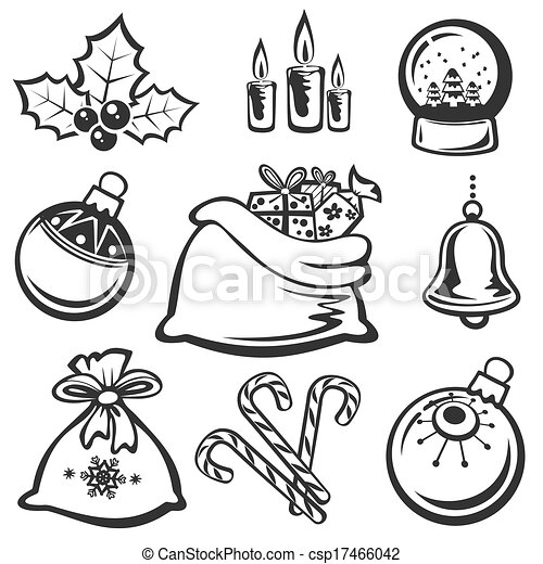 Kartoon-weihnachtssymbole, isoliert auf weißem hintergrund.