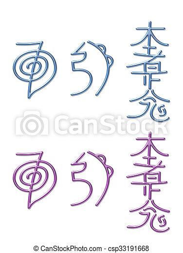 symbolen, energie, reiki, het helen. roze, blauwe , set, drie