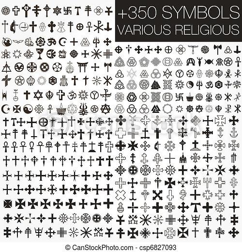 symbolen, religio, vector, gevarieerd, 350 - csp6827093