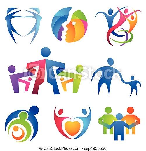 symbolen, samenhangend, mensen - csp4950556