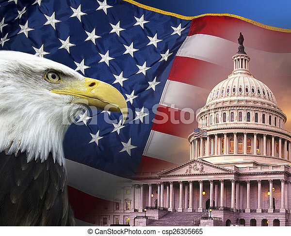 symbolen, verenigd, -, staten, vaderlandslievend, amerika - csp26305665