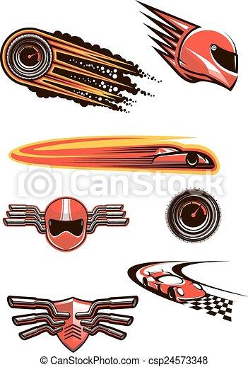 symboler, bil biltävlingar, motorsport - csp24573348