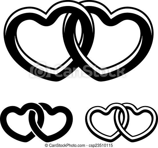 symboler, vektor, svart, hjärtan, vit, anknutit - csp23510115
