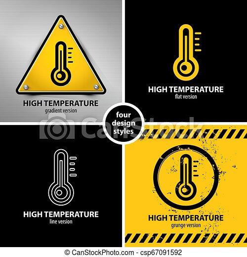 symboles, élevé, ensemble, avertissement, température - csp67091592