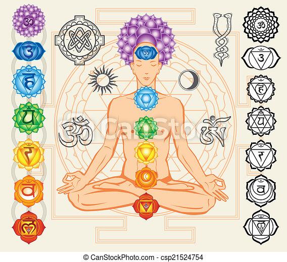 symboles, ésotérique, silhouette, chakras, homme - csp21524754